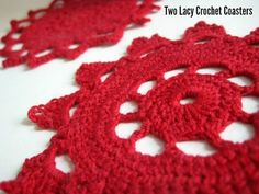 Two Lacy Crochet Coasters...free pattern! These coasters are lacy and pretty!