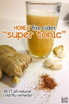 Discover how to get rid of a cold fast with this amazing natural cold remedy, homemade super tonic with potent garlic, ginger, acv, cayenne. Cold Home Remedies, Cough Remedies, Natural Remedies For Anxiety, Natural Cures, Herbal Remedies, Natural Healing, Holistic Remedies, Health Remedies, Natural Skin