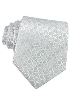 Circle pattern silk tie in silver by Forzieri.
