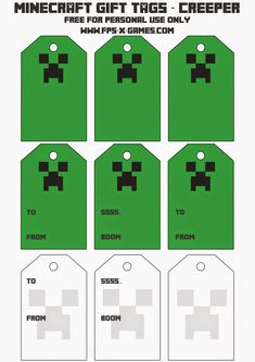 Printable Minecraft Creeper gift tags.