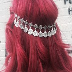 Gypsy hair chain jewelry with silver coins