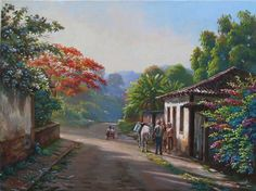 WILSON VICENTE - conversando Landscape Photos, Landscape Paintings, Arte Country, Water Drawing, Powerpoint Background Design, Barn Art, Cottage Art, Z Arts, Painting Lessons