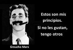 Frases graciosas de Groucho Marx                                                                                                                                                                                 Más All You Need Is Love, Just Do It, Dead Poets Society, Inspirational Phrases, Osho, Steve Jobs, Albert Einstein, Sentences, Jokes