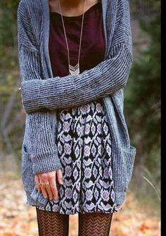 skirt cardigan whole outfit pattern burgundy jewels fall outfits boho tights fall outfits purple necklace stylish black and white