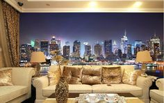 beibehang Manhattan papel de paede, New York City large mural wallpaper night background scenery TV sofa bed paper parede