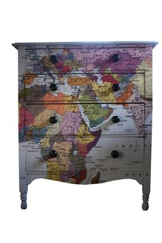 Map Chest Of Drawers by Bryonie Porter, the perfect gift for Explore more unique gifts in our curated marketplace. Funky Furniture, Upcycled Furniture, Furniture Making, Painted Furniture, Home Furniture, Reclaimed Furniture, Furniture Refinishing, Furniture Ideas, Chest Of Drawers