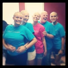 Carry each others burdens and in this way you will fulfill the law of Christ.  Galatians 6:2 We all shaved our hair off in support of our beautiful friend Carey.