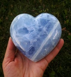 XL One of a Kind Striped Blue Calcite Polished by LunaBlueBoutique, $96.00