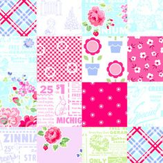 Half Yard 'Pam Kitty Garden' Patchwork by Lakehouse by MixFabrics