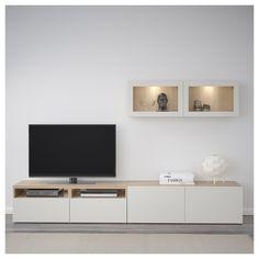 IKEA - BESTÅ TV storage combination/glass doors walnut effect light - Interior Ideas - Living Room Cabinets, Ikea Living Room, Living Room Tv Wall, Trendy Living Rooms, Living Room Tv, Living Room Designs, Ikea Tv Stand, Tv Storage, Living Room Storage