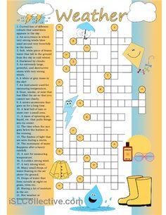 Crossword on weather vocabulary.