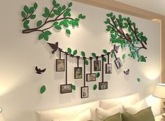 Spring Country Tree Wall Stickers With Photo Frames Family Wall Decor, Photo Wall Decor, Family Tree Wall, Wall Stickers With Photo Frames, Frames On Wall, Picture Wall, Picture Frames, 3d Tree, Wall Painting Decor