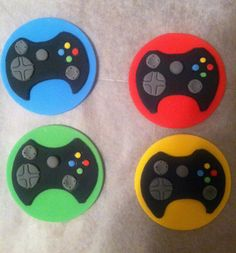 Xbox 360 Remote Controller Edible Fondant Cupcake Toppers - Set o 6 - Perfect for your child's next video game themed birthday party!