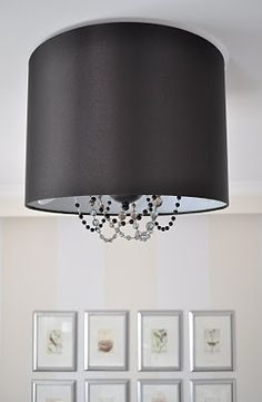 Drum shade and necklace bead glam ceiling light revamp | The Painted Hive