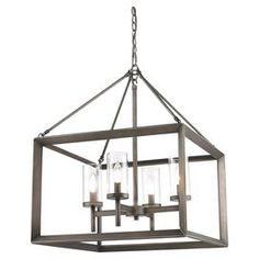 "Featuring a beveled cage design, this sleek mini chandelier offers understated style for your kitchen or dining room.    Product: Mini chandelier Construction Material: Steel and glass Color: Gunmetal bronze Accommodates: (4) 60 Watt max bulbs - not included Dimensions: 26.5"" H x 29.5"" W x 21"" D"