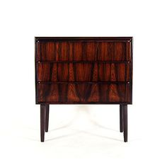 Retro Vintage Danish Modern Rosewood Bedside Table Chest of Drawers 1960s 1970s