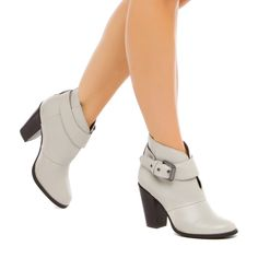 bootie with comfortable block heel, front cutout and wraparound strap.