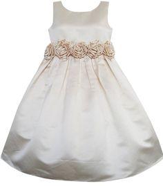 Mädchen Kleid Champagner Shinning Hochzeit Festzug Brautjungfer Gr.110