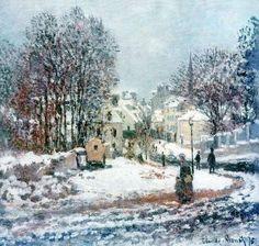 Claude Monet, The Grand Street Entering to Argenteuil, Winter, 1885. on ArtStack #claude-monet #art