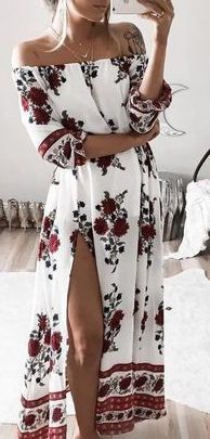 #summer #outfits / pattern print off the shoulder maxi dress