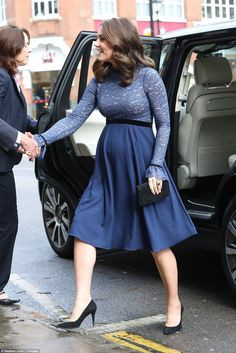 Kate, 36, showcased her pregnancy curves in a blue maternity dress by Serpahine... #katemiddleton