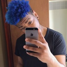 mens blue hair