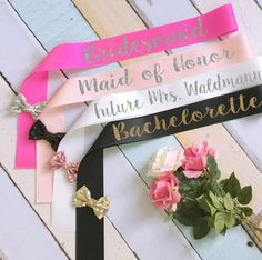 Bridal Party Sashes. Bride Sash. Bachelorette Sash. Wedding Sash. Custom Sash. Glitter Sash. Bow Sash. Bridesmaid Sash. Maid of Honor Sash by BrideAndEntourage on Etsy https://www.etsy.com/listing/275950262/bridal-party-sashes-bride-sash