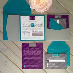 Modern Wedding Invitations Purple and Teal by InspirationIDoDesign