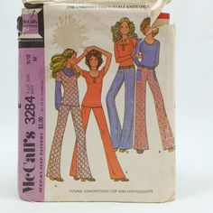 Vintage McCalls 3284 Junior Teen Girls Top HIP HUGGERS Size 11 12 Sewing Pattern #McCalls