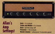 Allan Holdsworth Guitar Rig: Amp settings - 1994 Guitar Shop