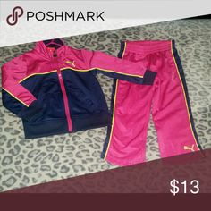 Puma Pink & Navy Track Suit Size 2T Worn once. Puma Jackets & Coats