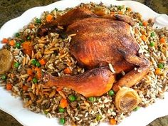 Roasted Chicken Stuffed With Rice Middle Eastern Recipe Main Dish