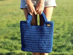 Handmade bag Crochet rope bag crochet bag by CrochetFashionLT