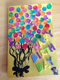 Toddler fingerprints birthday card