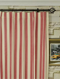 Moonbay Narrow Stripe Versatile Pleat Cotton Extra Long Curtains 108 120 Inch Cheery