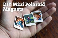 DIY Mini Polaroid Photo Magnets from Mama Say What?! How to make your own mini polaroid photo magnets, including downloadable templates for PS, AI or Gimp.
