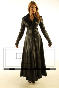 Ladies Reversable Full Length Leather Coat - Black/Mink | Some ...