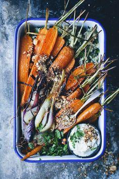 Roasted Carrots, Dukkah, Feta Cream & More (Green Kitchen Stories) Vegetable Recipes, Vegetarian Recipes, Healthy Recipes, Ovo Vegetarian, Whole Food Recipes, Cooking Recipes, Clean Eating, Healthy Eating, Healthy Food