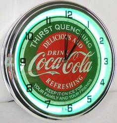 "Coca Cola 15"" Neon Wall Clock Lighted Distressed Sign Soda Pop Shop Coke Bottle Logo Vintage Retro Style Green Coca-Cola,http://www.amazon.com/dp/B00CUQSG9O/ref=cm_sw_r_pi_dp_xkrktb1PJ2V0BA05"