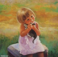 cute baby  - Painting by Sarah Dreamheart at touchtalent