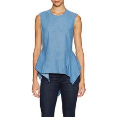 Petersyn Women's Cricket Cotton Gathered Hem Blouse - Blue - Size L (1,570 MXN) ❤ liked on Polyvore featuring tops, blouses, blue, asymmetrical hem top, ruching tops, cotton blouse, fitted tops and ruched tops