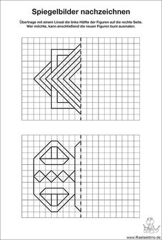 Kostenloses Spiegelbilder für Kinder zum Nachzeichnen Coding For Kids, Math For Kids, Grade 6 Math, Handwriting Activities, Math Patterns, Graph Paper Art, Math Art, Activity Sheets, Pattern Drawing