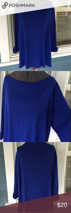 "KAREN SCOTT Woman Royal Blue Boatneck Tee Top KAREN SCOTT Woman Royal Blue Boatneck Tee Top.  Cuffed 1/2 sleeves.  Sideseam hem slits, 2-1/2"".  Shoulder width 20"".  Pit-to-pit 27"".  Length 27"" (shoulder to hem).   Royal blue cotton tee material.   Excellent condition. Karen Scott Tops Tees - Short Sleeve"