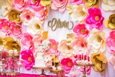 Floral dessert table from a Garden Tea Party on Kara's Party Ideas… Photobooth Background, Party Background, Pink Dessert Tables, Pink Desserts, Pink Und Gold, Tea Party Birthday, Garden Birthday, Party Decoration, Pink Parties