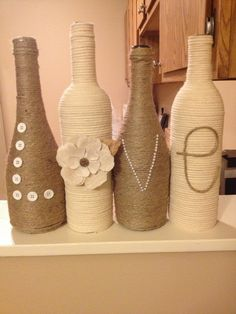 46 DIY Simple but Beautiful Wine Bottle Decor Ideas 18 Wine Bottle Art, Diy Bottle, Wine Bottle Crafts, Jar Crafts, Home Crafts, Glass Bottle, Alcohol Bottles, Bottles And Jars, Wrapped Wine Bottles