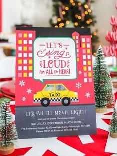 Movie Party Invitations, Printable Invitations, Party Printables, Free Printables, Christmas Time Is Here, Christmas Elf, Christmas Ideas, Xmas, Christmas Games