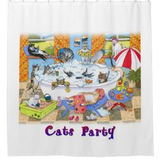 Cat 601 Funny Bathroom Art Shower Curtain Zazzle Com Funny