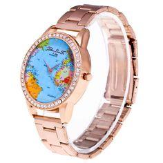 Vintage earth world map watch alloy women analog quartz wrist fashion luxury world map quartz stainless steel mesh belt wrist watch gift feature 100 gumiabroncs Image collections