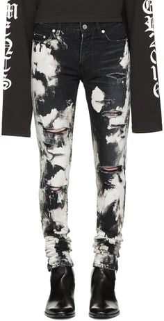 Saint Laurent - Black Distressed Acid Wash Jeans