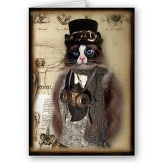 Steampunk Cat Custom Notecard http://www.zazzle.com/cobraprints/cards+stamps